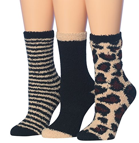 Tipi Toe Women's 3-Pairs Animal Funky Cozy Anti-Skid Soft Fuzzy Crew Socks, (sock size 9-11) Fits shoe size 6-9, FZ07-A