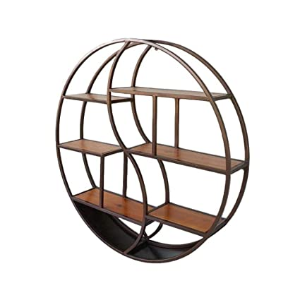 XSSD001 Modern Minimalist Fashion Shelf Ledge Metal Iron Wood Bar Living Room Round Wall Mounted