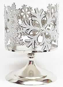 Bath & Body Works Glittering Snowflake Pedestal 3 Wick Candle Sleeve Holder