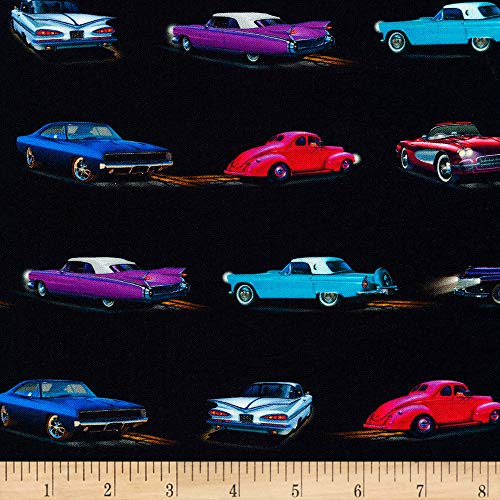 Robert Kaufman On The Road Cars Retro Fabric Fabric by the Yard (Retro Quilting Fabric)