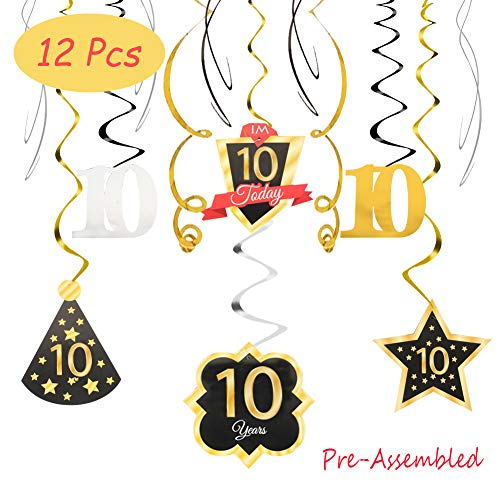 Happy 10th Birthday 10 Party Decoration Silver Black Gold Foil Swirl Streamers I'm Ten Years Old Today Birthday Hat Gold Star Ornament Party Supplies