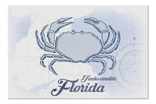 Jacksonville, Florida - Crab - Blue - Coastal Icon (20x30 Premium 1000 Piece Jigsaw Puzzle, Made in USA!)