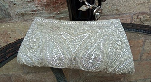 Bridal White Wedding Clutch, Indian Ethnic Clutch, Hand Beaded Bridal Purse, Silver white Bridal Clutch, Evening Clutch, Box Clutch, Minaudiere