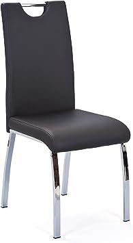 Inter Link 2er set Stuhl Esszimmerstuhl aus Kunstleder Schwarz und Metallgestell verchromt
