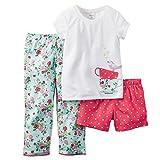 Carter's Little Girls' 3 Piece Cotton Jersey Pajamas (4T, Coral Mint)