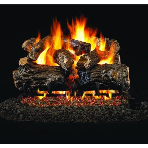 Peterson Real Fyre 24-inch Burnt Rustic Oak Gas Log Set With Vented Natural Gas G45 Burner - Match Light