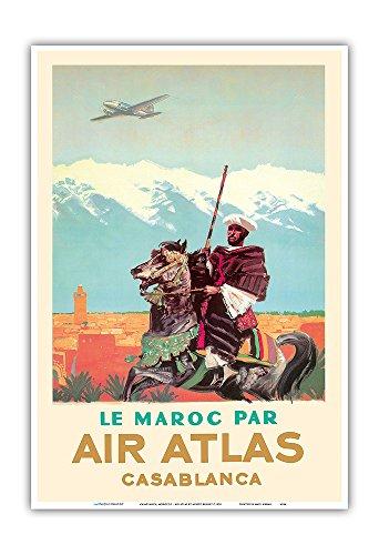 Casablanca  Morocco   By  Le Maroc Par  Air Atlas   Vintage Airline Travel Poster By Albert Brenet C 1950   Master Art Print   13In X 19In