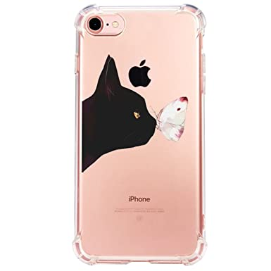 Funda iPhone 6/6S/7/7 Plus/8/8 Plus Carcasa Silicona Transparente Protector TPU Airbag Anti-Choque Ultra-Delgado Anti-arañazos Gatos y Mariposas Caja ...