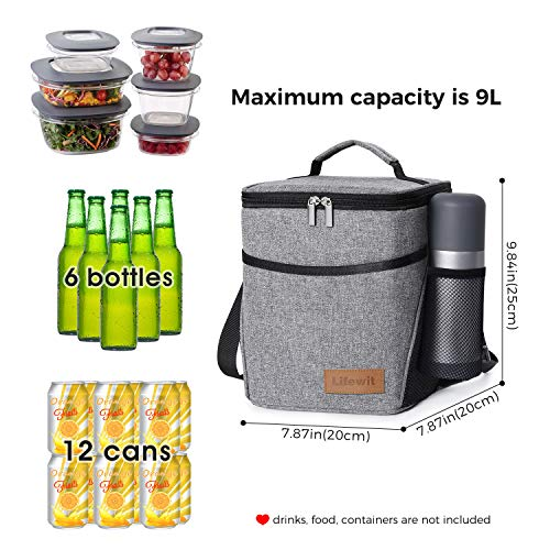 Lifewit Insulated Lunch Box Lunch Bag for Adults Men Women, 9L (12-Can) Soft Cooler Bag, Water-Resistant Leakproof Thermal Bento Bag for Work/School/Picnic, Grey