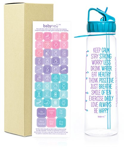 babyneü Pregnancy Gift Time Marked Water Bottle with Motivational Quote, weekly...