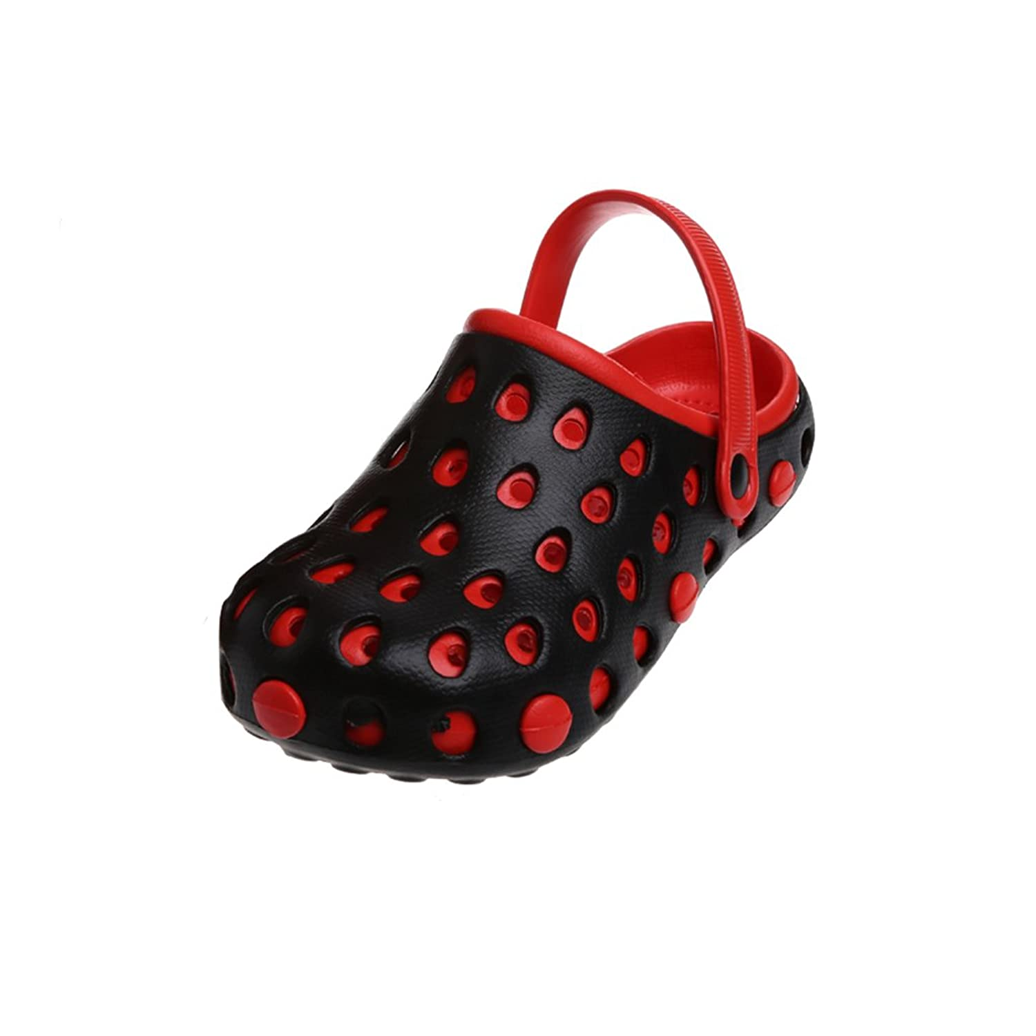 Mimgo Summer Men Sandals Shoes Hollow Out Sandals Hole Breathable - Black&Red