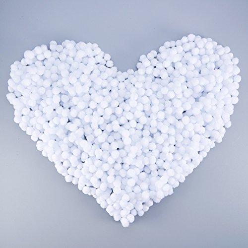 NBEADS 2000 Pieces 1cm White Pom Poms for