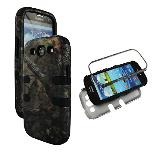 Samsung Galaxy S3 Camo - Hybrid 3 in 1 Black Camo Forest Samsung Galaxy S3 / S 3 / III i9300 High Impact Shock Defender Plastic Outside with Soft Silicon Inside Drop Defender Snap-on Cover Case