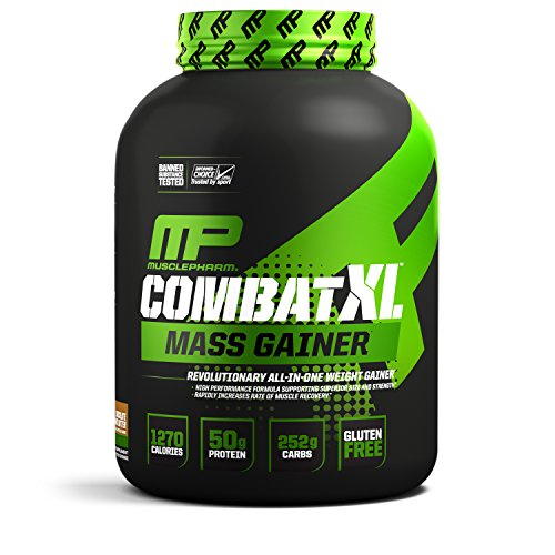 MusclePharm Combat XL Mass-Gainer Powder, Weight Gainer Protein Powder, 1270 Calories per Serving, 50 Grams of Protein, MCTS Flax and Chia Seeds, Chocolate Peanut Butter, 6-Pounds