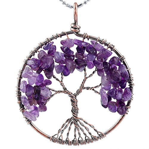 Tree Copper (SUNYIK Purple Amethyst Eternal Tree of Life Pendant Copper Plated)