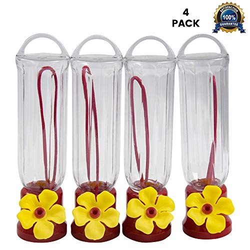 EJWOX Hummingbird Feeder with Hanging Wires/Easy Cleanup/Leakage Prevent Mini Hummingbird Feeders for Outdoors(4 Pack,2.3 oz)