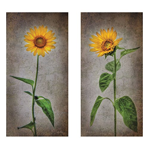 Two 10x20 Simple Lone Sunflower Wall Art Decor Prints
