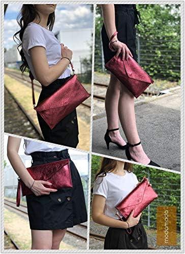 Color:rosa modamoda de ital embrague//noche bolsa de gamuza T106