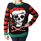 Ugly Christmas Sweater Plus Size Women's Skull Santa Hat Light Up Pullover Sweatshirt-Medium black