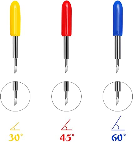 3 tipos de 40 cuchillas para máquinas de corte de vinilo Explore Air 2-30 45 60 grados de acero de tungsteno Roland Plotter cuchillas de repuesto: Amazon.es: Hogar
