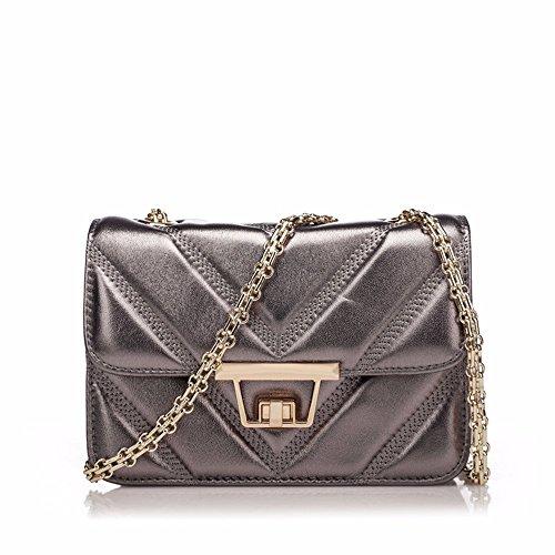 Bolso De cuero con bolsa lateral pequeña cadena de moda bolsa bolsa de cuero de oveja mini bolsa, 21*8*14cm, azul Antigua