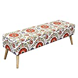 Otto & Ben 52'' Storage Bench - Mid Century Ottoman with Easy Lift Top, Upholstered Shoe Ottomans Seats for Entryway and Bedroom, Retro Floral
