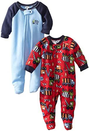 Gerber Baby-boys Infant 2 Pack Trucker Special Sleeper Blanket, Red/Blue, 6 Months