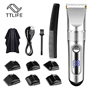 TTLIFE Hair Clippers Cordless Rechargeable Led Display with 6 Guide Combs(Two Modes are Suitable for Adults and Children…