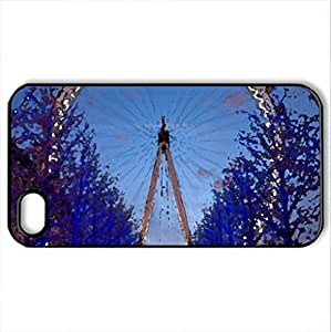 The Eye, London - Case Cover for iPhone 4 and 4s (Amusement Parks Series, Watercolor style, Black)