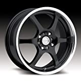 4 lug 17 inch rims set - Raceline 126B Black with Mirror Lip Wheel with (17x7.5/4x100, 40mm Offset)