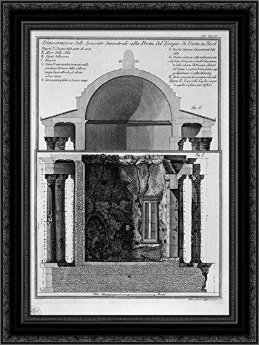 Cross Section Diameter - Demonstration of cross section diameter of the Gate of the Temple of Vesta in Tivoli 20x24 Black Ornate Wood Framed Canvas Art by Piranesi, Giovanni Battista