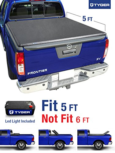 (Tyger Auto TG-BC3N1028 TRI-FOLD Truck Bed Tonneau Cover 2005-2018 Nissan Frontier; 2009-2014 Suzuki Equator | Fleetside 5' Bed | For models with or without the Utili-track System)