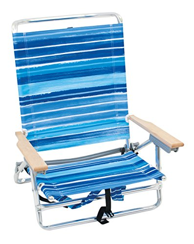 Rio Brands 5 Position Classic Lay Flat Beach Chair with Backpack Straps, Stripe