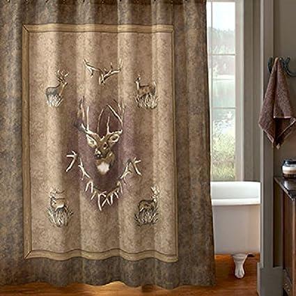Whitetail Ridge Shower Curtain   Deer Bath Woods Meadow Cabin Lodge Bathroom  Decor