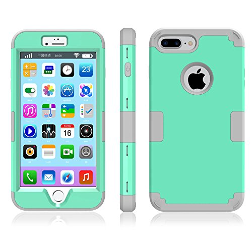 iPhone 7 Plus Case, Speedup Hybrid Heavy Duty Shockproof Full-Body Protective Cover Case 3-Piece High Impact Hybrid Defender Case for Apple iPhone 7 Plus (2016 Released) (Mint Green + Grey) -