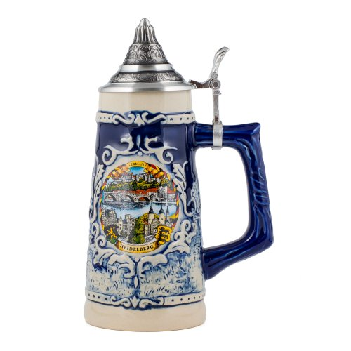Germany Heidelberg Stoneware Raised Relief Decoration Half Liter Beer Stein with Pewter Lid ()