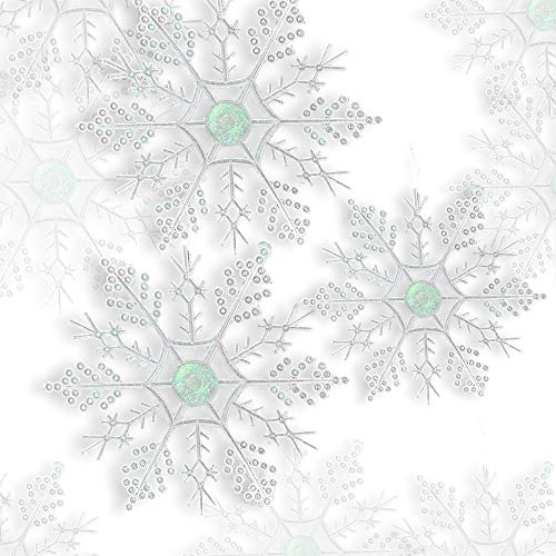 BANBERRY DESIGNS Glittered Snowflake Ornaments - Set of 72 Snow Flakes and 300 Silver Wire Ornament Hooks Included - Winter Wonderland Decorations ()