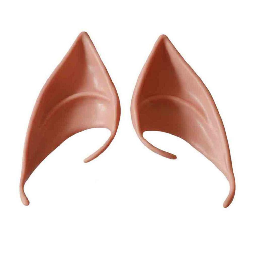 Sacow Cosplay Elf Ears, Halloween Latex Soft Elf Ears Cosplay Fake Ears Ear Tips for Any Themed Party,1pair (F)