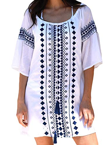 Ailunsnika Geometric Print Lace-up O Neck Short Tunic Beach Dress Half Sleeve Swimsuit Cover Up for Women