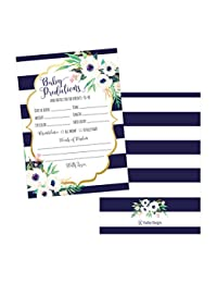50 Navy Floral Advice and Prediction Cards for Baby Shower Game, New Mom & Dad Card Mommy & Daddy To Be, For Girl or Boy Babies New Parent Message Advice Book, Fun Gender Neutral Shower Party Favors BOBEBE Online Baby Store From New York to Miami and Los Angeles