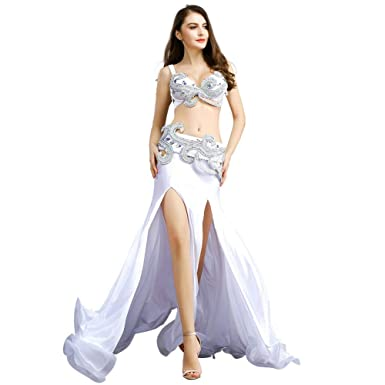 ROYAL SMEELA Belly Dance Costume for Women Belly Dancing Skirts Belly Dance  Bra and Belt Maxi Ruffle Skirt Bellydance Outfit
