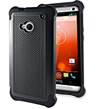 Htc One M7 Case Otter Hybrid Dual Layer [Screen Protector clear With Stylus Pen] Cover for Htc One M7 2013 Edition - (Black)