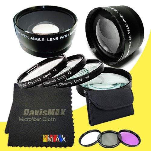 77mm Macro Close Up Kit + Wide Angle + 2x Telephoto Lenses + 3 Piece Filter Kit for Sony Alpha SLT-A58 with Sony 24-70 f/2.8 Carl Zeiss Lens + DavisMAX Fibercloth Lens Bundle