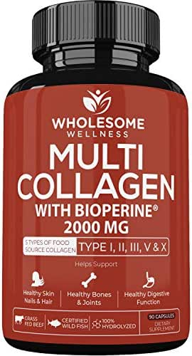 Multi-Collagen Protein Capsules with Bioperine - 2000MG Max Potency - Type I II III V X - Grass-Fed Super Bone Broth + Collagen - Premium Grass-Fed Beef, Chicken, Wild Fish & Eggshell Collagen