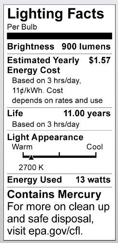 Equivalent to 60-Watt Incandescent Lamp for Enclosed Fixtures Satco Products Satco S7411 13-Watt Medium Base T2 Mini Spiral 2700K 120V