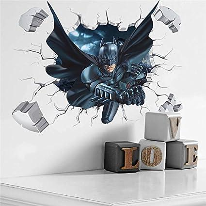 SeedWorld Wall Stickers Cartoon Boys Hero Batman Spiderman Wall Sticker for Kids Rooms Home Decor Wall Art 3D Effect Broken Wall Decal Gift Poster 1 PCs