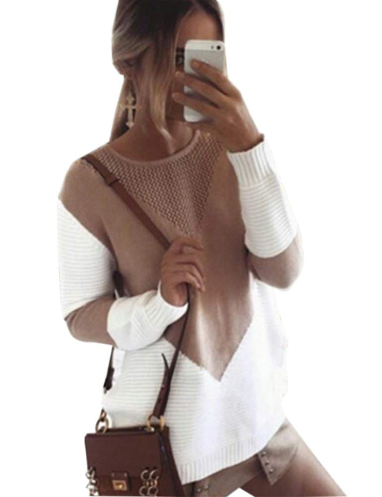 shermie Women Long Sleeve Crew Neck Pullovers Stitching Color Loose Knitted Sweaters Camel L