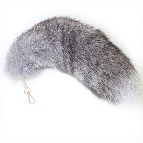 44cm Supper Huge Fluffy Silver Blue Fox Tail Fur Alopex Lagopus Handbag Accessories Key Chain Ring Hook Tassels Natural Color Cospaly Toy