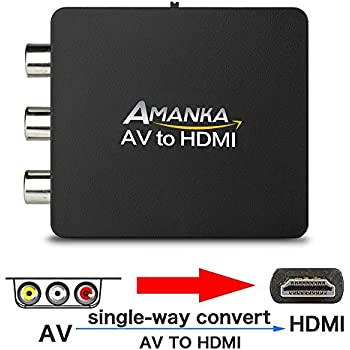 Amanka AV to HDMI Converter 3RCA Composite Video Adapter with USB Charging Cable for TV/PC/PS3/Blue-Ray DVD,Black