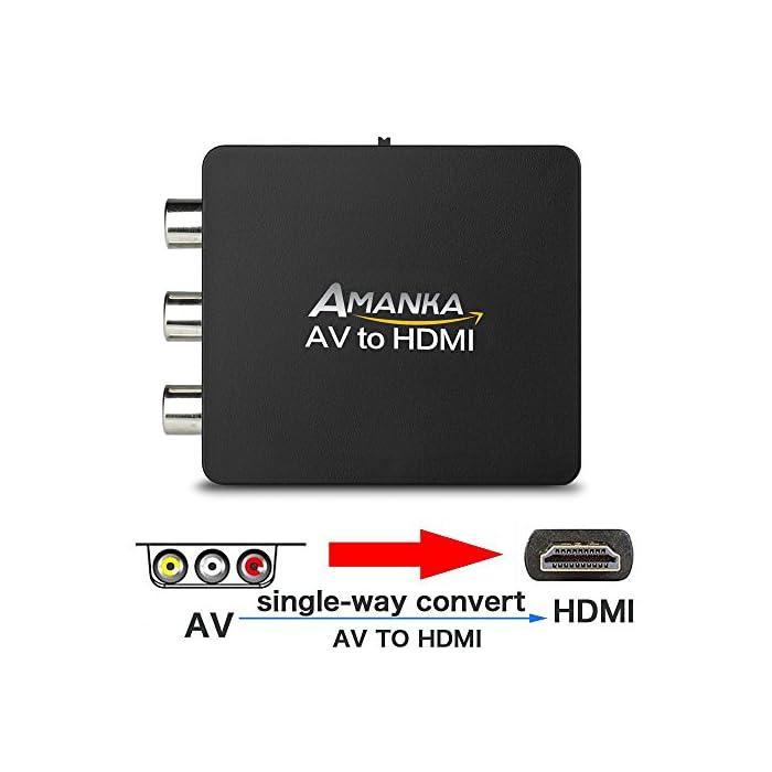 51cML2Zhy2L Haz clic aquí para comprobar si este producto es compatible con tu modelo ♛ Simplemente enchufe los cables AV estándar compuestos (amarillo, rojo, blanco) en la entrada, la salida de un cable HDMI desde el convertidor a su TV, etc ♛ Ayude a su viejo dispositivo RCA A / V al nuevo equipo HDMI, transmita audio y video simultáneamente sin retraso. hace que la imagen sea clara y estable, sin parpadeo ni distorsión.